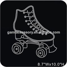 Roller Skate Hot Fix Rhinestone Transfer Designs For Apparel