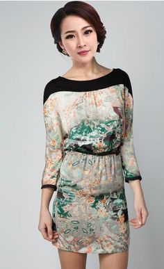 cool #fashion #dress #apparel #clothing Europe Fashion Ladies Women's Painting Landscape Print Floral Crew Neck Chiffon Dress S M L