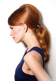 "Topic of the week: ""Voluminous Pony""! This hairstyle stretches the ponytail into a 60's shape with volume at the crown. Learn how to do it in our upcoming photo tutorial! #nivea #hair #style #volume #ponytail"