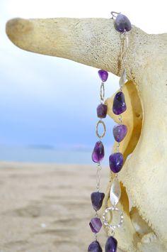 necklace amethyst and hyaline collana in cristallo ametista e ialino di Oxidex su Etsy