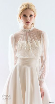 papilio 2019 bridal long bishop sleeves illusion high neck heavily embellished b. - - papilio 2019 bridal long bishop sleeves illusion high neck heavily embellished bodice romantic peach colored a line wedding dress sheer button back ch. Sheer Wedding Dress, White Wedding Dresses, Bridal Dresses, Flower Girl Dresses, Prom Dresses, Lace Wedding, Wedding White, Gown Wedding, Victorian Wedding Dresses