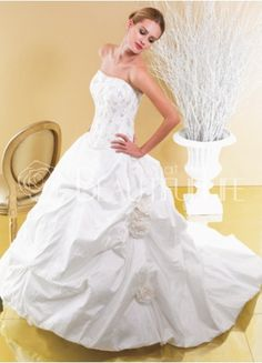 $332.49 Taffeta #Ball #Gown Strapless Sweep Train Bridal #Dress With Embroidery