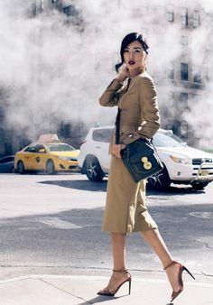 Fashion Week Street Style: Nicole Warne captured between shows in Ralph Lauren Collection Spring '15