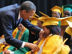 President Obama greets graduating students before the Booker T. Washington High School graduation ceremony May 2011 in Memphis, Tennessee. The school is the winner of this year's Race to the Top High School Commencement Challenge. First Black President, Mr President, Black Presidents, American Presidents, Michelle Obama, Presidente Obama, Malia And Sasha, Barack Obama Family, Barrack Obama