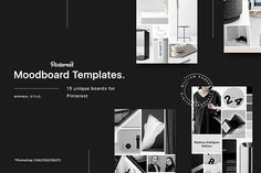 15 Pinterest Mood Board Templates by William Hansen on @creativemarket. Perfect for bloggers, fashion designers, architect, designers and other creatives.