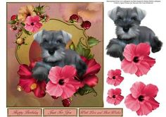 Schnauzer Hibiscusblooms Topper with Decoupage on Craftsuprint - Add To Basket!