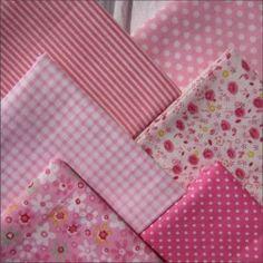 Набор тканей из 6 лоскутов, 100% хлопок, розовый