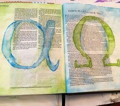 """""""I am the Alpha and the Omega, the first and the last, the beginning and the end."""" -Revelation 22:13 Done with gouache and lots of patience  it was also my first spread page! #biblicalcanvas #biblejournalingcommunity #journalingbiblecommunity #bible #journaling #bibleart #journalingbible #biblejournaling #illustratedgfaith #idrawinmybible #createdtocreate #shepaintstruth #ipaintinmybible #art"""