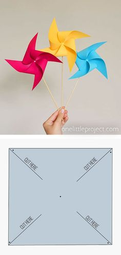These paper pinwheels are really easy to make and they actually spin! This is such a fun summer craft idea and a great activity for the kids! This kids craft is low mess, uses supplies you already hav At Home Crafts For Kids, Easy Arts And Crafts, Summer Crafts For Kids, Paper Crafts For Kids, Crafts To Do, Pinwheel Craft, Pinwheel Tutorial, How To Make Pinwheels, Paper Folding Crafts