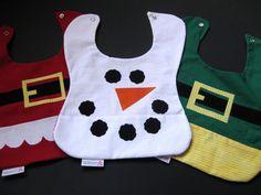 Pocket baby bibs  Santa Elf Snowman 3pack by ABabyNotion on Etsy, $30.00