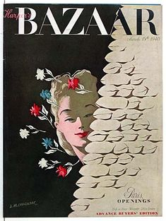 Harper's Bazaar, March 15, 1940 #cover | Paris Openings, illustration by A. M. Cassandre