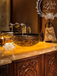 Powder room - Love the vessel sink and how the marble is illuminated from underneath