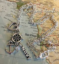 US Navy anchor cluster charm necklace by Son and Sea free US shipping