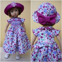 Smocked-Dress-Hat-for-13-Effner-Little-Darling-Doll-Pink-Blue-Calico-SJ