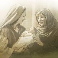 Maria segurando o bebê Jesus enquanto a profetisa Ana louva a Deus