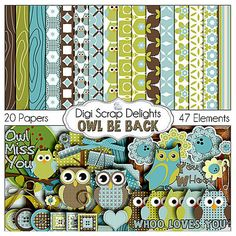 SALE Owl Digital Scrapbooking Kit - Blue, Green, Brown Owl Clip Art & Owls Woodland for Birthday  Invites, Instant Download