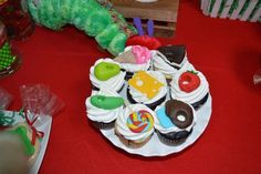 Very Hungry Caterpillar birthday party cupcakes! See more party ideas at CatchMyParty.com!