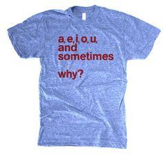 Men's A, E, I, O, U T-shirt  by Andy Taray