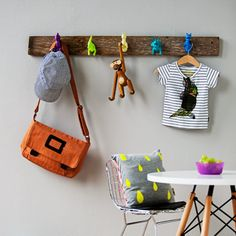 easy to make this hanger, wood and spray painted toys