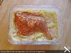 Chefkoch.de Rezept: Gebackene Hähnchenkeulen auf Kartoffeln