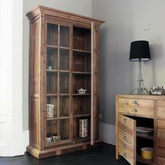 This cabinet in rustic pine really is darling, with its two glazed, window-panelled doors and floral textured wrought iron handle mechanism, it is perfect for recreating a chic country look. Fill it with your best linen, tableware and accessories. Pine Cabinets, Wall Cupboards, Wooden Cabinets, Room Inspiration, Interior Inspiration, Chinese Furniture, Industrial Furniture, Industrial Style, Industrial Design