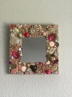 This Unique jeweled embellished mirror is just one of the custom, handmade pieces you'll find in our mirrors shops. Jewelry Frames, Jewelry Mirror, Jewelry Tree, Vintage Jewellery Crafts, Costume Jewelry Crafts, Old Jewelry Crafts, Diy Jewelry, Antique Jewelry, Jewelry Making