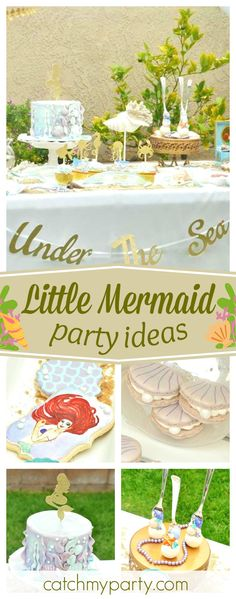 Take a look at this amazing Little Mermaid birthday party! The cookies are gorgeous!! See more party ideas and share yours at CatchMyParty.com