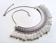 Silver pectoral and white agate gemstones, ethnic necklace by MercysFancy on Etsy