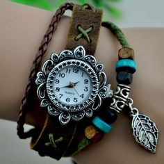 $4.27    Vintage Flower Dial National Jewelry Watch Cow Leather Bracelet