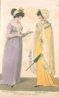 Evening Dress & Walking Dress, August 1801, Fashions of London & Paris