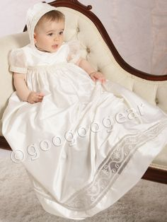 Christening gown with silk organza sleeves,cg725 - 100% dupion silk christening gown- cg725