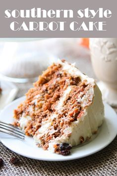 Looking for the perfect Carrot Cake recipe? This is the real deal! Southern Style Carrot Cake is the only way to go! Carrot Spice Cake, Best Carrot Cake, Moist Carrot Cakes, Moist Cakes, Just Desserts, Delicious Desserts, Yummy Food, Baking Recipes, Cake Recipes