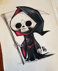 Cartoon Sketches, Art Drawings Sketches, Cartoon Art, Cute Drawings, Graffiti Drawing, Graffiti Art, Images Graffiti, Reaper Drawing, Desenhos Halloween