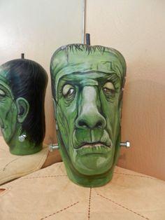 Frankenstein Apple Gourd Halloween Decor by BostfulBits on Etsy, $70.00