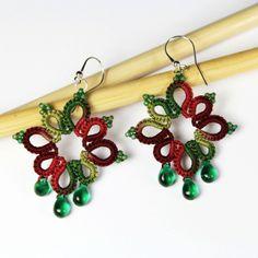Earrings squares red green - Middia.net