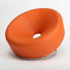 Ward Orange Leather Chair ~ Very interesting I can just see me trying to get out of this after sitting in it.