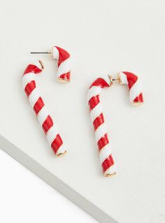 Cute Earrings, Dangle Earrings, Holiday Time, Disney Cruise, Candy Cane, Peppermint, Red And White, Dangles, Christmas Decorations