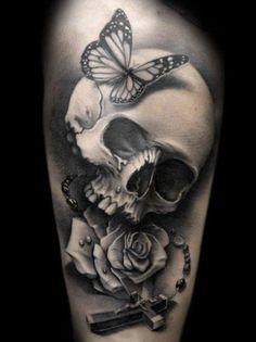 lovely skull w/ butterfly, rose and prayer cross