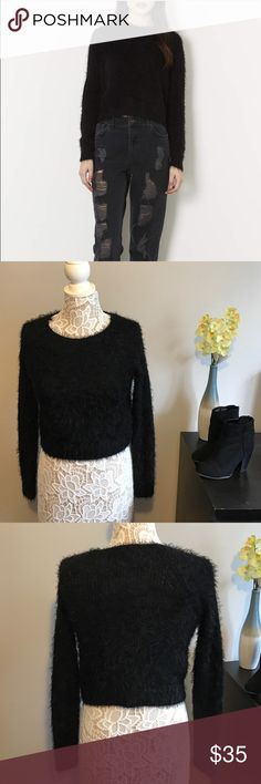 Topshop black fluffy sweater Knit fluffy sweater. US size 0. Bust about 17 and length 17 inches. Stretchy! Topshop Sweaters Crew & Scoop Necks