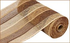 Stripe Poly Burlap Mesh 10 Inch, Buff, Chocolate, Beige Poly Burlap Mesh, Poly Burlap Mesh For Wreat Deco Mesh Ribbon, Wired Ribbon, How To Make Wreaths, How To Make Bows, Paper Mesh, Wreath Making Supplies, Ribbon Design, Mesh Wreaths, Red And White