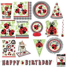 Diyladybuginvitations related pictures ladybug birthday details about ladybug 1st birthday party tableware supplies decorations all items stopboris Gallery