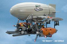 Lego Model : Image : Description Plunder the skies in your raid zeppelin Lego Chima, Lego Mecha, Lego Ninjago, Steampunk Lego, Steampunk Ship, Lego Creator Sets, Lego Design, Lego Gears, Lego Plane