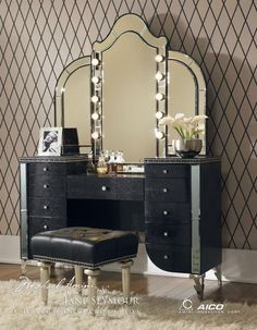 Aico Hollywood Swank Vanity in Black Iguana Vinyl by Michael Amini