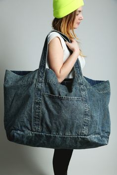 Oversized Denim Tote Bag