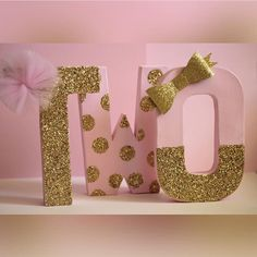 Pink and Gold Birthday Decorations - Glitter Letters - Self Standing - Stand Alone - Wall Decor - Nursery Decor - Cake Table Letters Pink Gold Party, Pink And Gold Birthday Party, Ballerina Birthday Parties, Golden Birthday, Minnie Birthday, Baby Girl Birthday, Princess Birthday, First Birthday Parties, Birthday Ideas