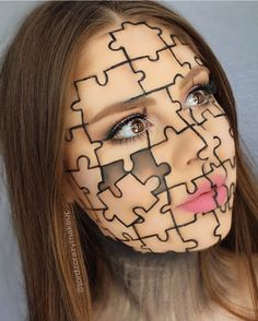 Hallowen Makeup jigsaw puzzle piece creative easy halloween makeup inspo looks ideas inspiration. , jigsaw puzzle piece creative easy halloween makeup inspo looks ideas inspiration. jigsaw puzzle piece creative easy halloween makeup inspo looks ide. Fx Makeup, Makeup Inspo, Makeup Ideas, Face Makeup Art, Kids Makeup, Doll Makeup, Makeup Brush, Makeup Cosmetics, Makeup Tips