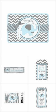 Elephant and Chevron Print Baby Blue