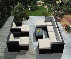 Genuine Ohana Outdoor Patio Sofa Wicker Sectional Furniture 11pc Couch Set (Beige Cushion) with Free Patio Cover Ohana Collection