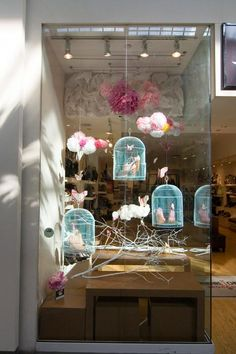 Bird cages in store window