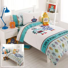 "Robot bed linens.  Love the ""I Am a Robot"" pillow."